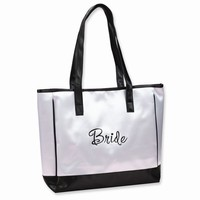 Bride White Satin Tote