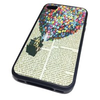 Apple iPhone 4 4G 4S Case Cover Skin BLACK RUBBER SILICONE Up Balloon House Cute Vintage Hipster Dictionary Art Print Urban Inspirational Teen Gift Idea Accessories