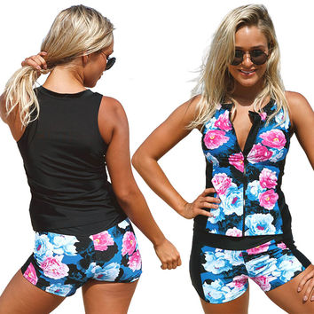 Flower Print Two Piece Swimming Shorts Set