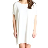 Off White Piko Tunic Short Sleeve Dress