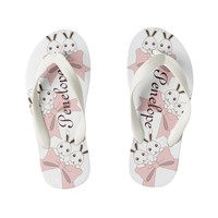 Cute Bunnies w/ Pink Ribbons Personalized Kid's Flip Flops