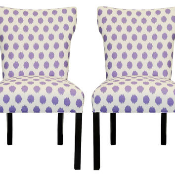 Purple Lauren Side Chairs, Pair, Dining Chair Sets