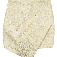 Beige Ruched Asymmetric Skirt