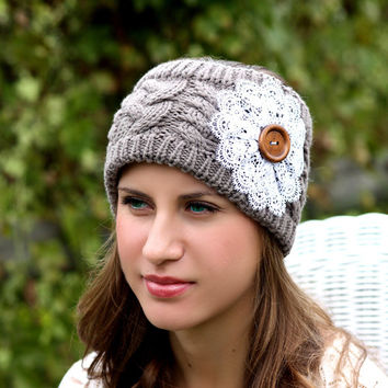 Boho Headband - Knitted , Cable Knit, Charcoal , Gray ,  Lace Flower, Wood Button, Wide Headband, Cottage Chic, Turban, Christmas Gift