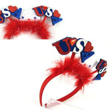 National Day Peach Heart Hoop US Flag Headband American Independence Day [11550525007]
