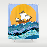 Sailing the High Seas Shower Curtain by Gretzky