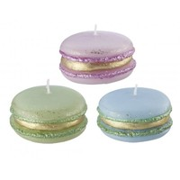 Large Pastel and Gold Macaron Candle - Olive Green