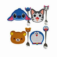 Yunko Adorable Rilakkuma, Doraemon Coasters - Set of 4 - Good Grip Stain Free Silicone Coasters with Spoon