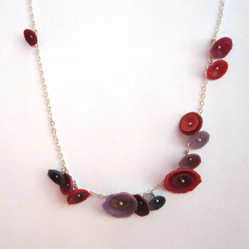 Pink, Red, Purple poppy necklace on sterling silver.  Modern and colorful flower necklace.  Sterling silver necklace, feminine jewelry.