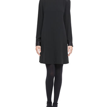 Washable Silk Long-Sleeve Dress, Size: