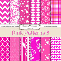 Hot Pink Digital Paper, Digital Papers, Neon Pink, Background, Patterned, bright pink, dark pink pink, fuchsia digital patterns, magenta