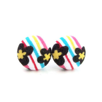 Bright fabric earrings - tiny button earrings - happy stud earrings - nickel free - white yellow blue red black