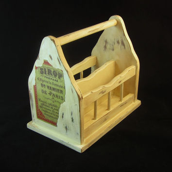 Vintage Wooden Napkin Holder Shabby Chic Painted and Distressed