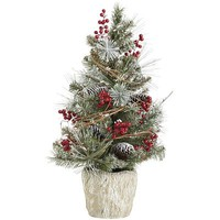 Snowy Faux Pine Topiary