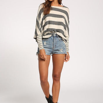 Taupe Thick Stripe Soft Knit Dolman Top