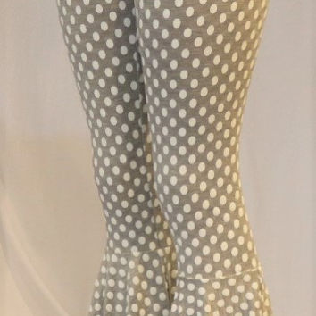 Polkadot Bellbottom Pants (Gray)