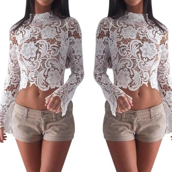 Sexy lace hooked hollow zipper long sleeve [18172411930]