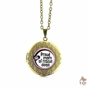 Proud Mom of Rescue Dogs Locket Pendant