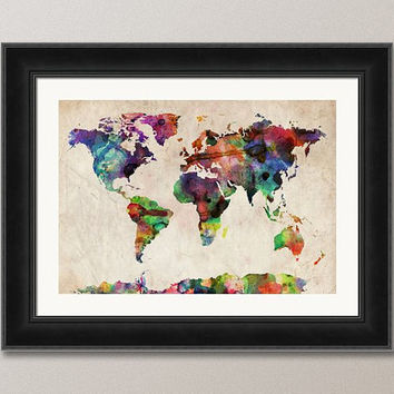 Watercolor Map of the World Map Art Print 18x24 inch by artPause