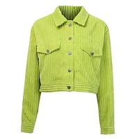 ABELLA Women's Corduroy Ribbed Button Turn-down Collar Jackets