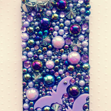 Iphone 5/5s Lilac Bat, Studded, Lilac & Black Decoden Case. Halloween, Creepy, Kawaii Can Be Made For ANY Phone Iphone 5/5s