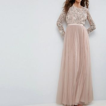 Needle and Thread Long Sleeve Embroidered Maxi Dress at asos.com
