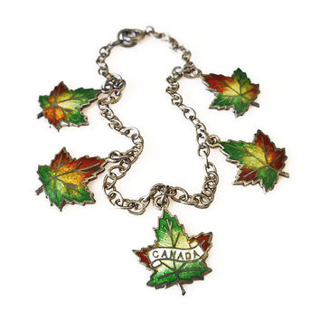 Sterling Charm Bracelet, Maple Leaf, Canada Canadian, Enamel, Autumn Leaves, Vintage Jewelry