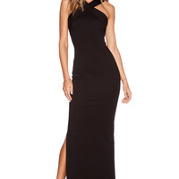 NICHOLAS Ponte Cross Front Gown in Black