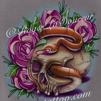 "Original art print, Skull and Snake, size 8""x10"""