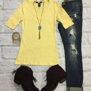 Basic V-Neck Mid Sleeve Tee: Yellow