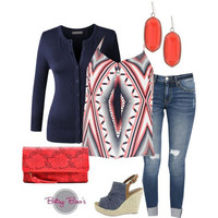 (pre-order) Set 460: Coral Abstract Tank Set (includes tank, cardy & earrings)