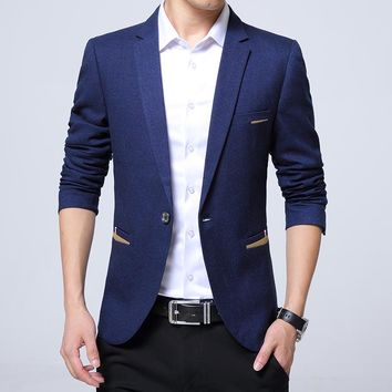 Men Casual Blazer Slim Fit Notched Collar Solid Color Business Casual Suit