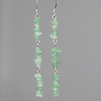 Jade Linear long stone chunky dangling Earrings Bridesmaid gifts Free US Shipping handmade Anni designs