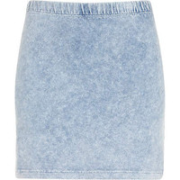 Blue acid wash denim look mini skirt