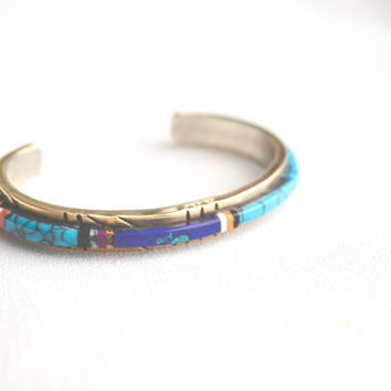 vintage navajo inlay cuff // turquoise - coral - jet - azurite - onyx - spiny oyster