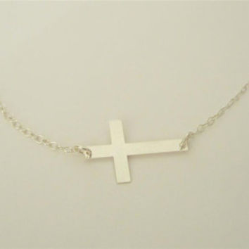Sideways Cross necklace, sterling silver cross necklace