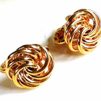 Gold Trifari Earrings , Vintage Gold Earrings , Clip On Small Gold Signed Designer Jewelry