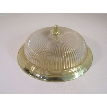 Contemporary 12in Ceiling Light Fixture Ribbed Glass Frosted/Bright Brass -- Used