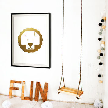 Gold Foil Kids Poster / Minimalist Nursery Poster / Lion Wall Art / Swiss Cross Poster / Nordic Print / Scandinavian Decor