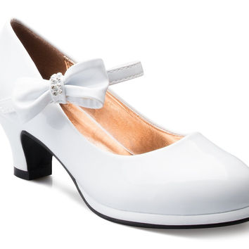 OLIVIA K Girls Bow Mary Jane Kitten Heel Pumps (Toddler/Little Girl) White Patent 2 M US Little Kid '