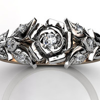 14k two tone rose and white gold diamond unusual unique floral wedding band LB-2016-6.