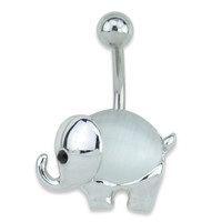 Silver Elephant Cat Eye Belly Ring