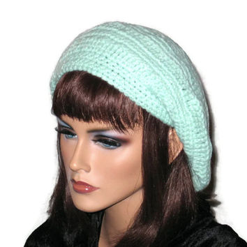 Slouch Beret Hat, Hand Crocheted -Green, Pink, Blue, Brown, or Off White