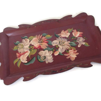 Vintage Tole Tray-Pink-Hand Painted Flowers-Toleware-Rectangular-Cut Out Sides-Large-Metal Tray-Nashco-Serving Tray-Tole Painting