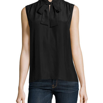 Le Sleeveless Neck-Tie Shirt, Noir, Size: