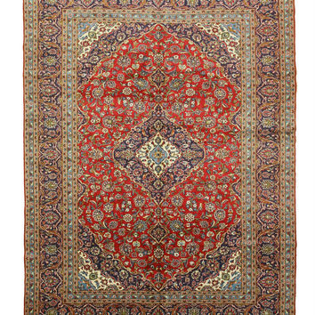 Hand-knotted Wool Red Traditional Oriental Kashan Rug (9'8 x 13')