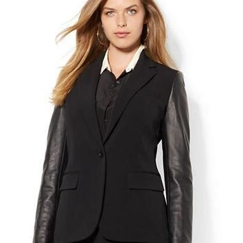 Lauren Ralph Lauren Plus Leather Sleeved Jacket
