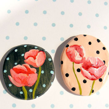 Polka Dot Magnet Set of 2 Mini Poppy Paintings Peach Black Dots Cute Hand painted Ceramic kitchen Home Decor Accent