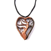 Wood Necklace, Wood Tree of Life Pendant, Tree of Life Necklace, Hand Carved Pendant, Wooden Pendant, Wooden Heart Necklace, Wood Jewelry