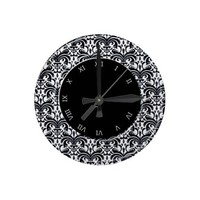 Big Bold Damask (Black) Wall Clocks from Zazzle.com